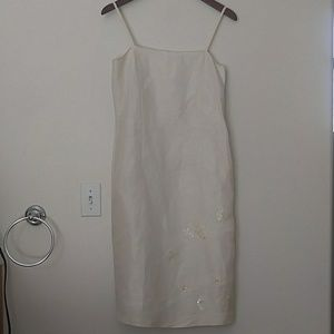 Vintage Korean Linen Silk Cream Bead Dress